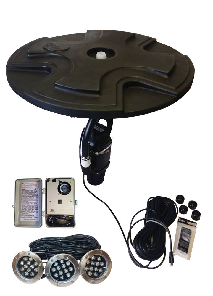Outdoor Water Solutions FTN0422 1/2 hp Fountain with Lights, 100' power cord, GFCI, 4 adjustable spray patterns plus 3 LED lights