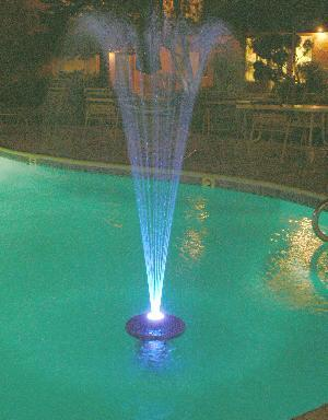 Small Floating Pond Fountain 1000 w/ 48 LED Light Ring