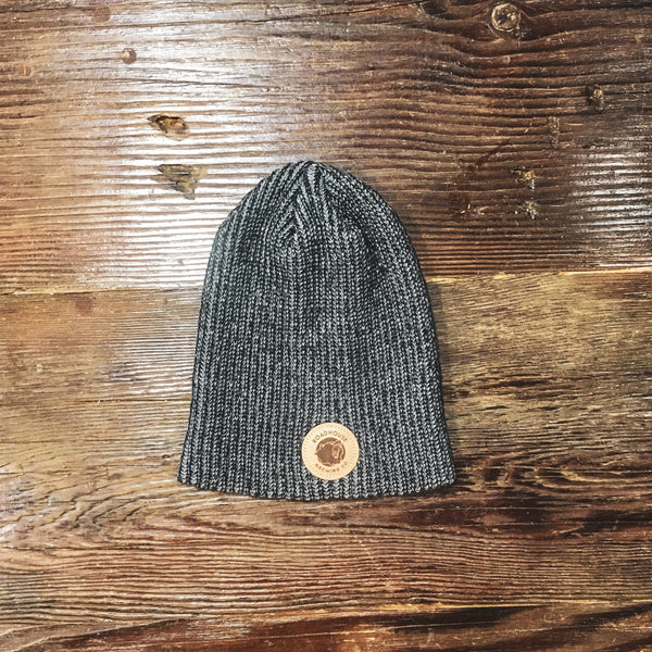 Leather Patch Knit Beanie - Grey