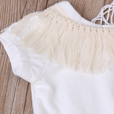 Basic White Tassel Romper - Present Baby | clothes, rompers, bibs, shoes, blankets, dresses & more