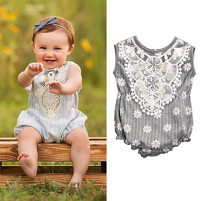 Daisy Crochet Romper - Present Baby | clothes, rompers, bibs, shoes, blankets, dresses & more