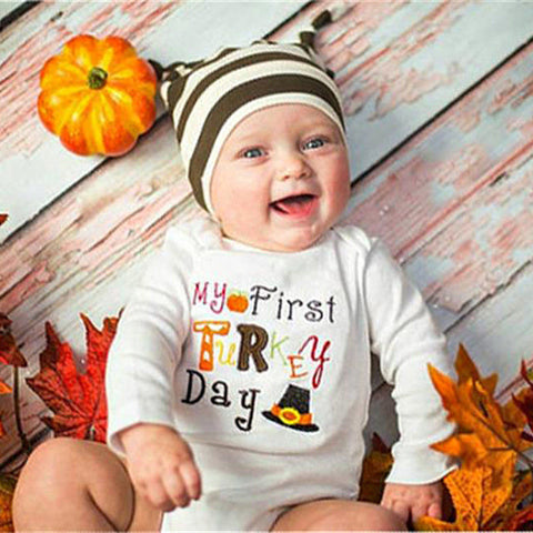 My First Turkey Day Romper - Present Baby | clothes, rompers, bibs, shoes, blankets, dresses & more
