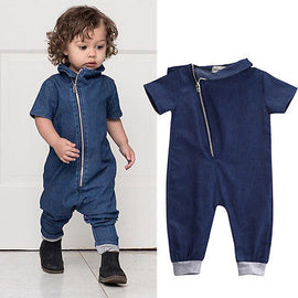 Street Denim Romper - Present Baby | clothes, rompers, bibs, shoes, blankets, dresses & more