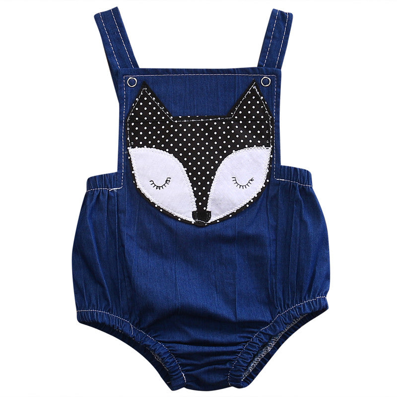 Baby Blue Fox Romper - Present Baby | clothes, rompers, bibs, shoes, blankets, dresses & more