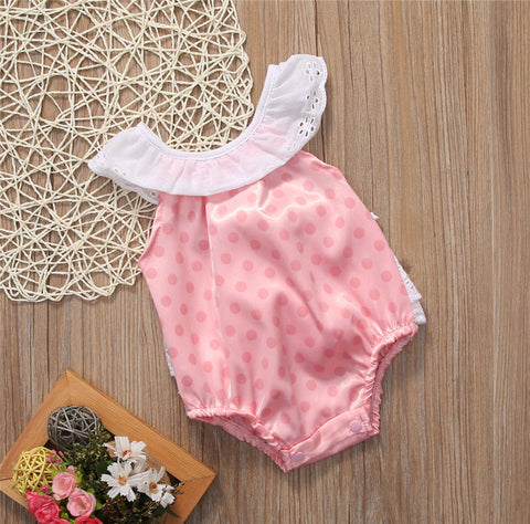 Silky Pink Polka Romper - Present Baby | clothes, rompers, bibs, shoes, blankets, dresses & more