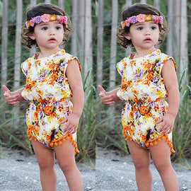 Woody Autumn Floral Tassel Romper - Present Baby | clothes, rompers, bibs, shoes, blankets, dresses & more