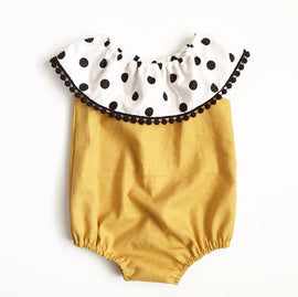 Gold Polka Romper - Present Baby | clothes, rompers, bibs, shoes, blankets, dresses & more