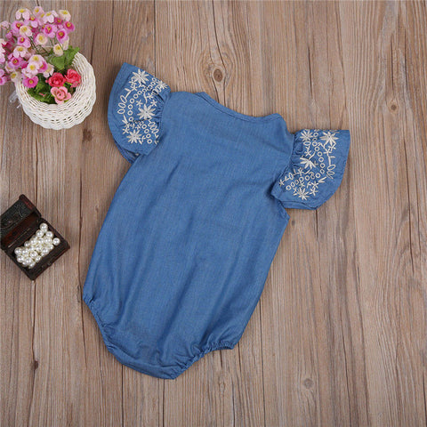 Embroidery Denim Romper - Present Baby | clothes, rompers, bibs, shoes, blankets, dresses & more