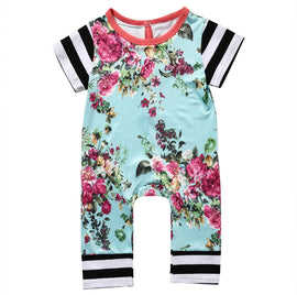 Floral Stripe Romper - Present Baby | clothes, rompers, bibs, shoes, blankets, dresses & more