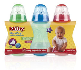 3 Pack - Nuby Non-Drip Tinted Bottles, 7oz - Present Baby | clothes, rompers, bibs, shoes, blankets, dresses & more
