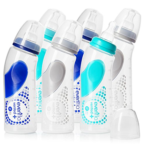 6 Pack - Evenflo Feeding Vented Plus Angled Bottles, 9oz - Present Baby | clothes, rompers, bibs, shoes, blankets, dresses & more