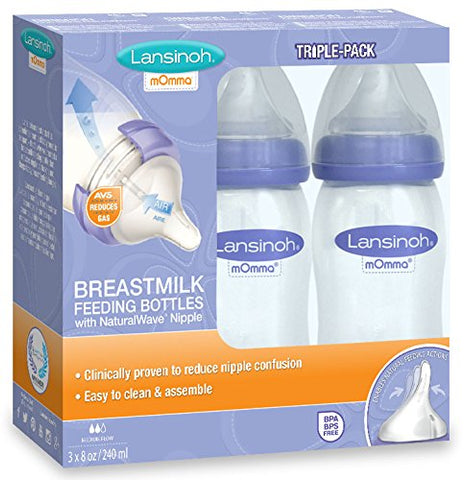 3 Pack - Lansinoh mOmma Breastmilk Bottles, 8oz - Present Baby | clothes, rompers, bibs, shoes, blankets, dresses & more