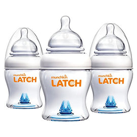 3 Pack - Munchkin Latch Baby Bottle, 4oz - Present Baby | clothes, rompers, bibs, shoes, blankets, dresses & more