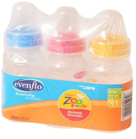 3 Pack - Evenflo Zoo Friends Bottle, 8oz - Present Baby | clothes, rompers, bibs, shoes, blankets, dresses & more