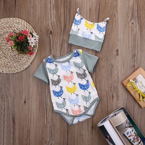 Colorful Chicken Print Romper - Present Baby | clothes, rompers, bibs, shoes, blankets, dresses & more