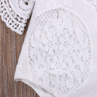 White Crochet Romper - Present Baby | clothes, rompers, bibs, shoes, blankets, dresses & more