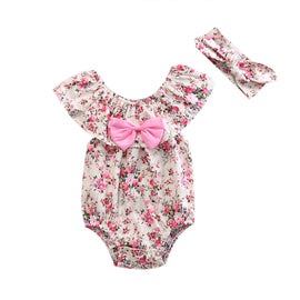 Pink Bow Vintage Floral Romper - Present Baby | clothes, rompers, bibs, shoes, blankets, dresses & more