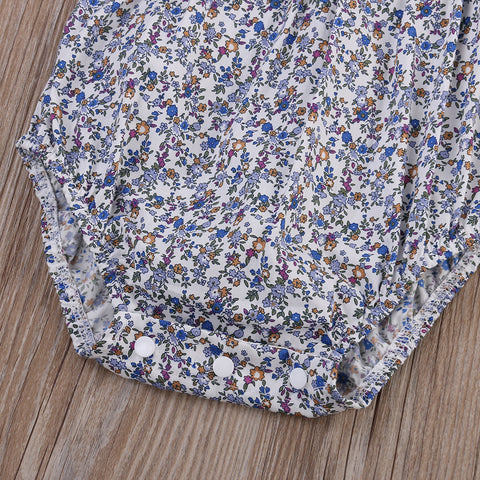 Lace Blue Floral Romper - Present Baby | clothes, rompers, bibs, shoes, blankets, dresses & more