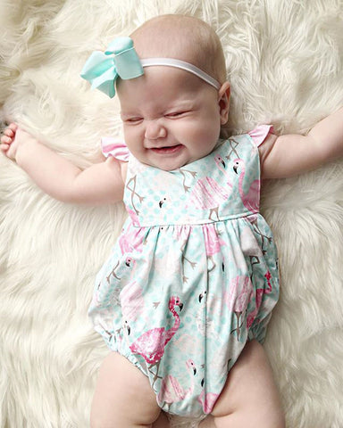 Dainty Polka Dot Flamingo Romper - Present Baby | clothes, rompers, bibs, shoes, blankets, dresses & more