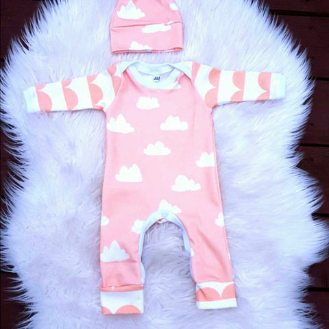 Cloudy Pink Skies Romper Set - Present Baby | clothes, rompers, bibs, shoes, blankets, dresses & more