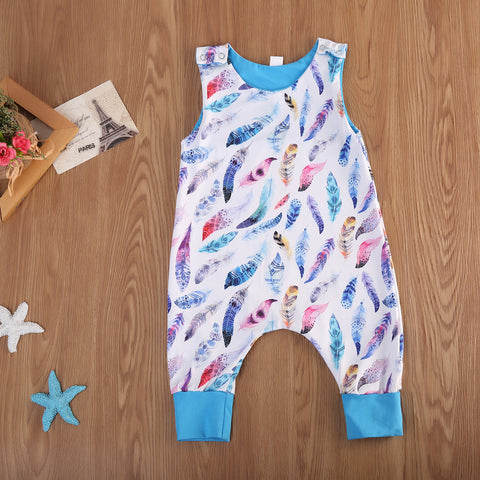Blue Feather Jumper Romper - Present Baby | clothes, rompers, bibs, shoes, blankets, dresses & more