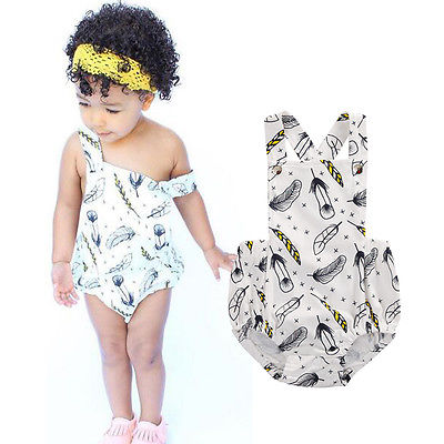Monochrome Feather Romper - Present Baby | clothes, rompers, bibs, shoes, blankets, dresses & more