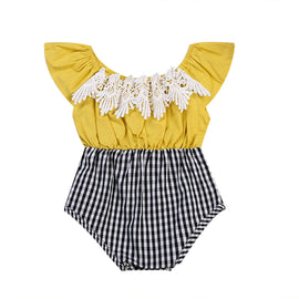 Yellowy Surprise Plaid Lace Romper