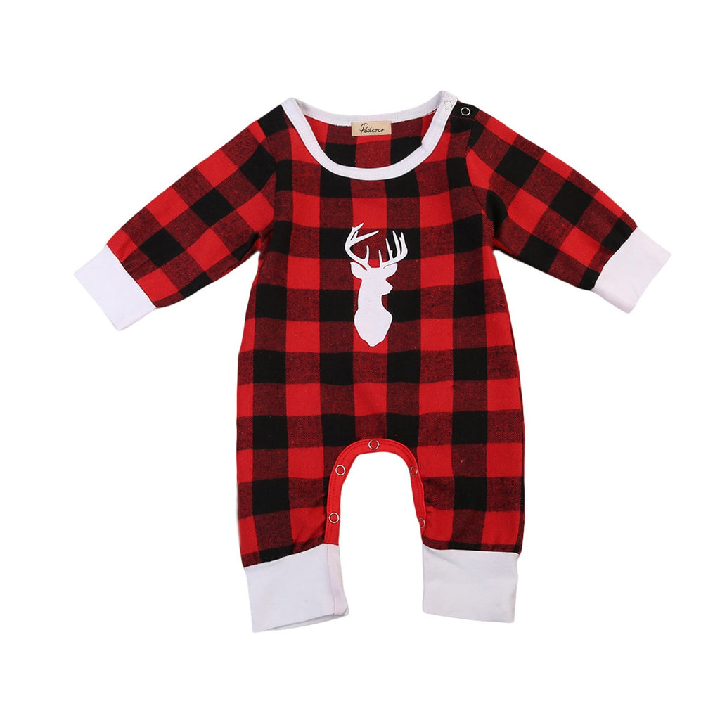 Plaid Majestic Deer Romper - Present Baby | clothes, rompers, bibs, shoes, blankets, dresses & more