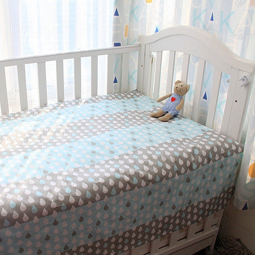 Blue Raindrops Bed Sheet - Present Baby | clothes, rompers, bibs, shoes, blankets, dresses & more