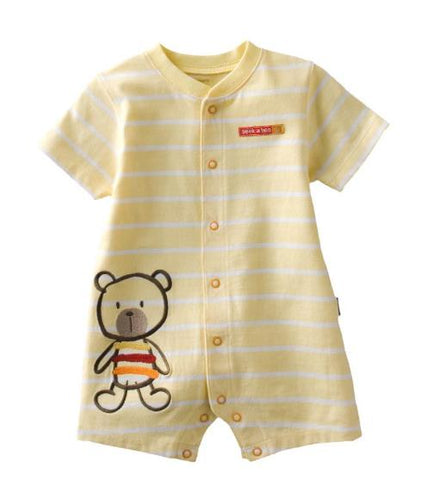 Yellow Stripe Teddy Romper - Present Baby | clothes, rompers, bibs, shoes, blankets, dresses & more