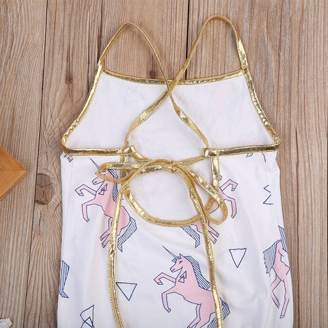 Unicorn Gold Sunsuit Romper - Present Baby | clothes, rompers, bibs, shoes, blankets, dresses & more