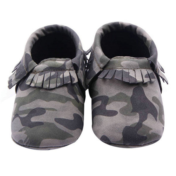 Camo Soft Tassel Shoes - Present Baby | clothes, rompers, bibs, shoes, blankets, dresses & more