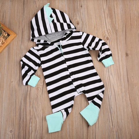 Stripe Dino Romper - Present Baby | clothes, rompers, bibs, shoes, blankets, dresses & more
