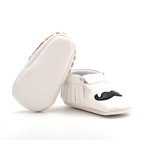 Leather Moustache Shoes - Present Baby | clothes, rompers, bibs, shoes, blankets, dresses & more