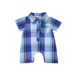 Checkered Blue Romper - Present Baby | clothes, rompers, bibs, shoes, blankets, dresses & more
