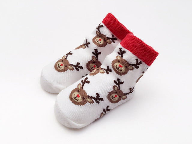 Winter White Deer Socks - Present Baby | clothes, rompers, bibs, shoes, blankets, dresses & more