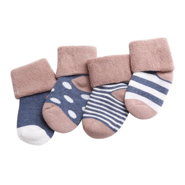 4 Pack - Striped Blue Minimalist Socks Set - Present Baby | clothes, rompers, bibs, shoes, blankets, dresses & more