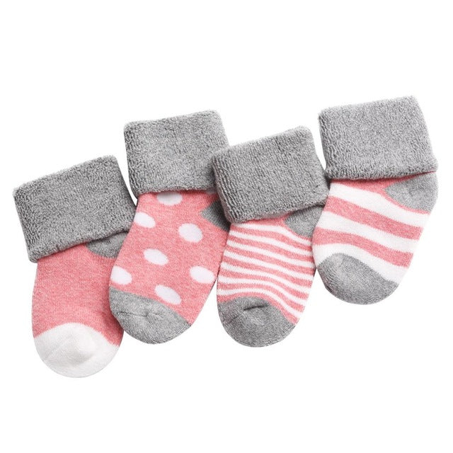 4 Pack - Striped Pink Minimalist Socks Set - Present Baby | clothes, rompers, bibs, shoes, blankets, dresses & more