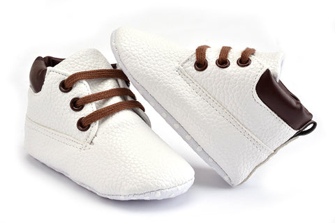 High Top Leather Sneakers - Present Baby | clothes, rompers, bibs, shoes, blankets, dresses & more