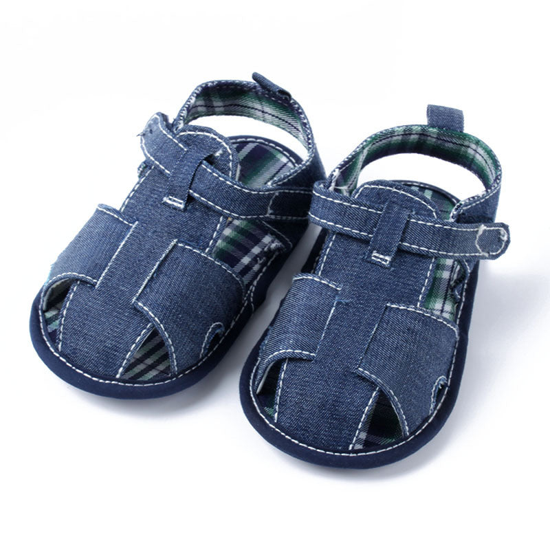 Denim Plaid Day Sandals - Present Baby | clothes, rompers, bibs, shoes, blankets, dresses & more