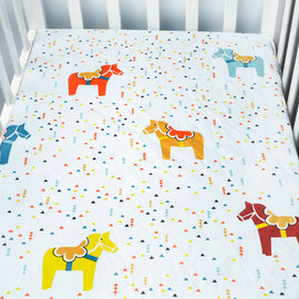 Pony Parade Bed Sheet - Present Baby | clothes, rompers, bibs, shoes, blankets, dresses & more