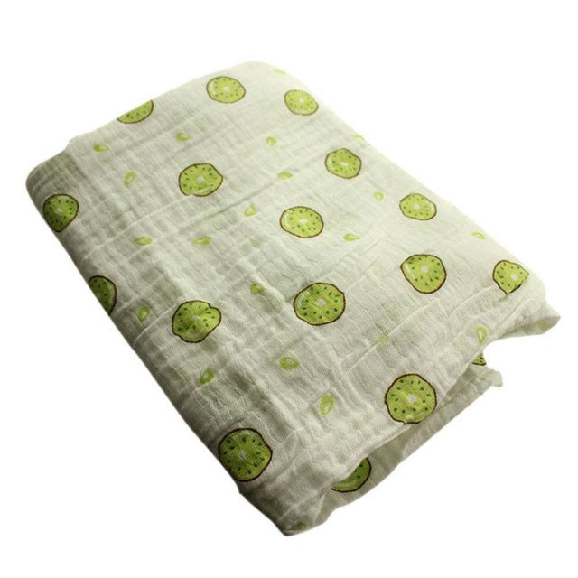 Green Kiwi Muslin Swaddle Blanket - Present Baby | clothes, rompers, bibs, shoes, blankets, dresses & more