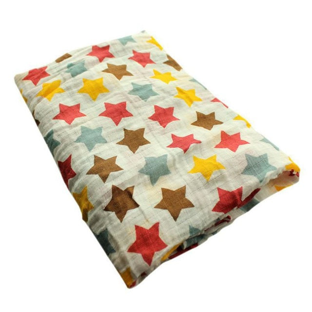 Polka Stars Muslin Swaddle Blanket - Present Baby | clothes, rompers, bibs, shoes, blankets, dresses & more