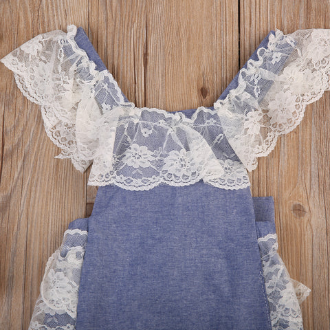 Denim Lace Playsuit Romper - Present Baby | clothes, rompers, bibs, shoes, blankets, dresses & more