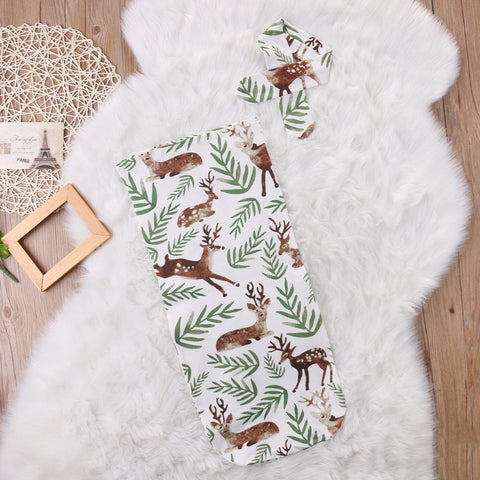 2 Piece - Nature Deer Swaddle Blanket - Present Baby | clothes, rompers, bibs, shoes, blankets, dresses & more