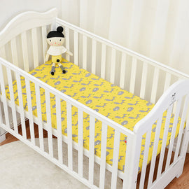Sleepy Yellow Fox Bed Sheet - Present Baby | clothes, rompers, bibs, shoes, blankets, dresses & more