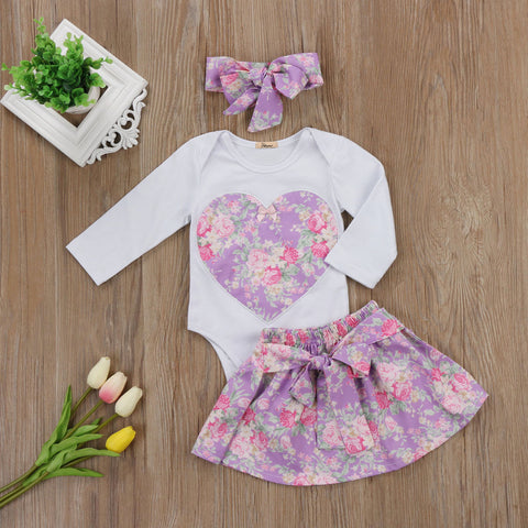 Floral Heart Romper Set - Present Baby | clothes, rompers, bibs, shoes, blankets, dresses & more