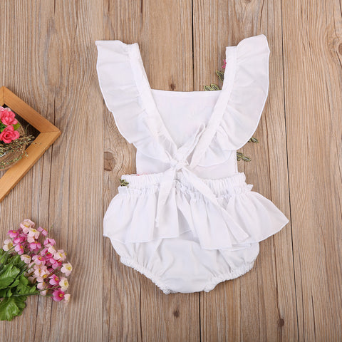 Floral Embroidered Dainty Romper - Present Baby | clothes, rompers, bibs, shoes, blankets, dresses & more