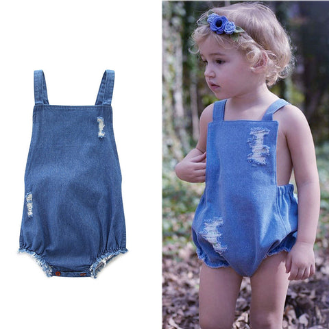 Denim Jumpsuit Dress Romper - Present Baby | clothes, rompers, bibs, shoes, blankets, dresses & more