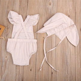 Beige Bunny Romper Set - Present Baby | clothes, rompers, bibs, shoes, blankets, dresses & more
